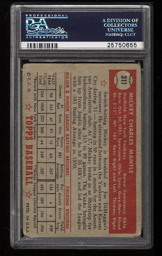 1952 Topps Mickey Mantle #311 PSA 1 PR (PWCC) - Image 2