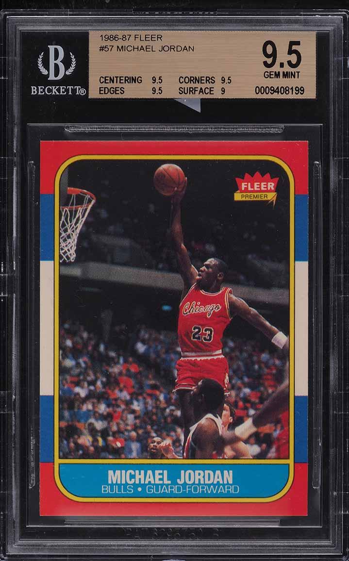 1986 Fleer Basketball Michael Jordan ROOKIE RC #57 BGS 9.5 GEM MINT (PWCC-E) - Image 1