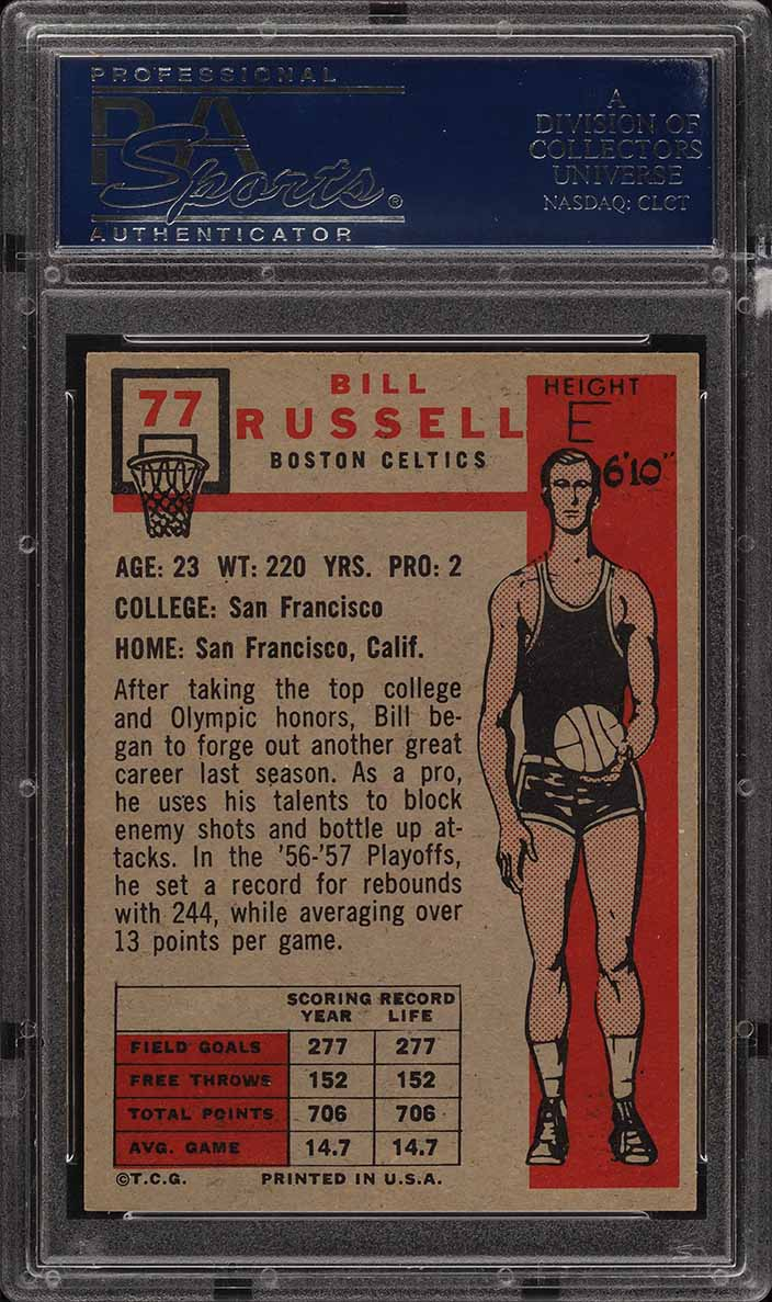 1957 Topps Basketball Bill Russell SP ROOKIE RC #77 PSA 7 NRMT (PWCC) - Image 2