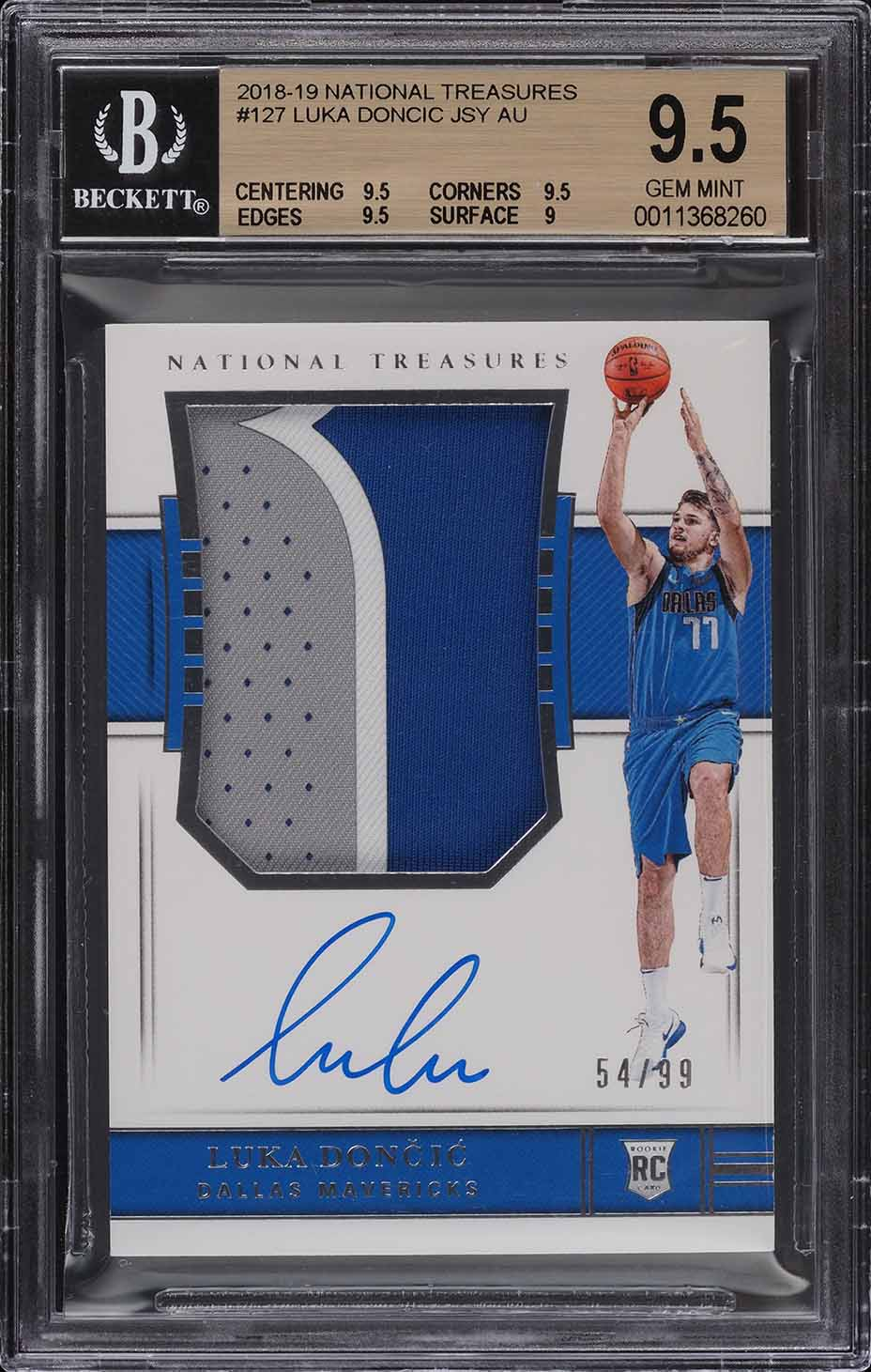 2018 National Treasures Luka Doncic ROOKIE RC PATCH AUTO /99 #127 BGS 9.5 GEM - Image 1