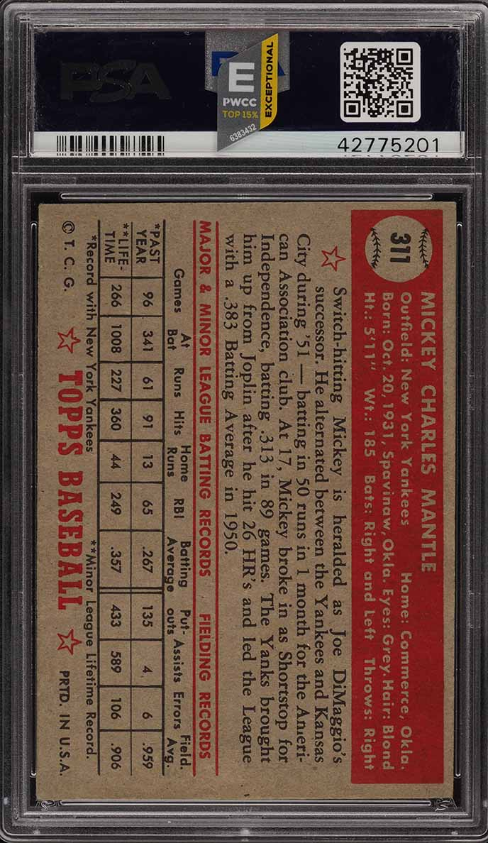 1952 Topps Mickey Mantle #311 PSA 4.5 VGEX+ (PWCC-E) - Image 2