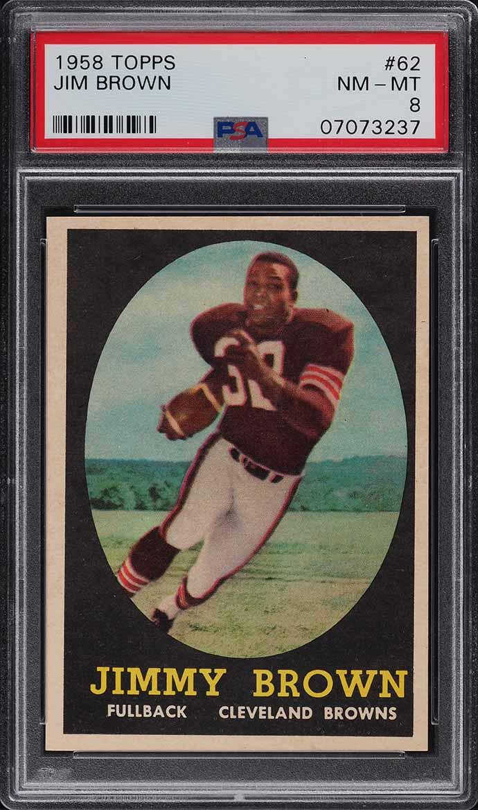 1958 Topps Football Jim Brown ROOKIE RC #62 PSA 8 NM-MT - Image 1