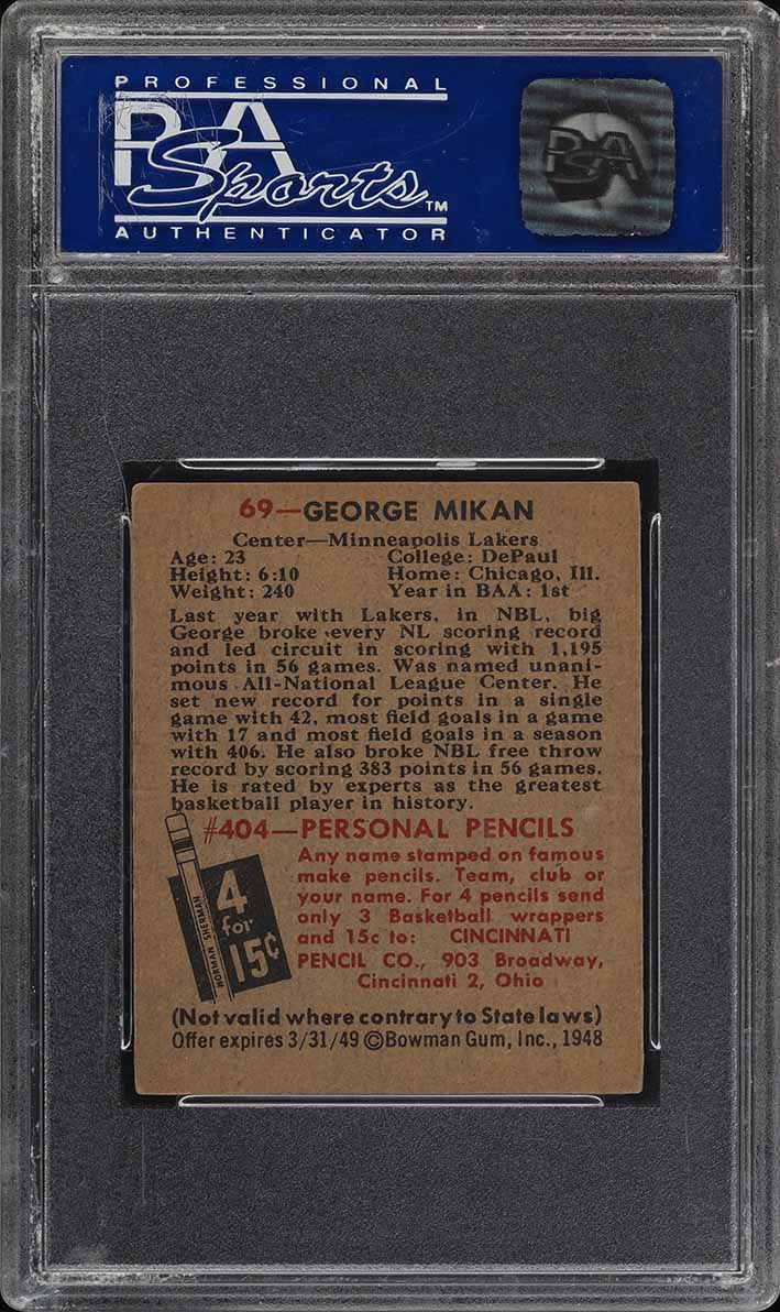 1948 Bowman Basketball George Mikan ROOKIE RC #69 PSA 6 EXMT (PWCC) - Image 2