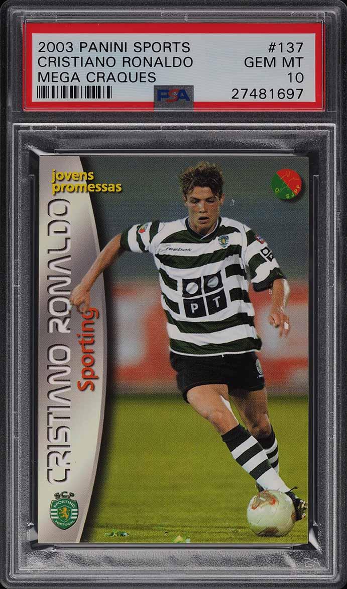 2003 Panini Sports Mega Craques Cristiano Ronaldo ROOKIE RC #137 PSA 10 GEM MINT - Image 1