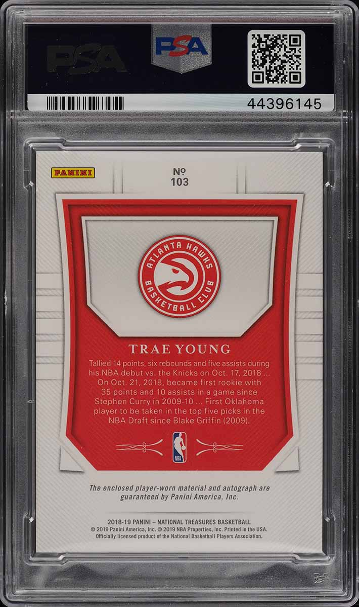 2018 National Treasures Trae Young ROOKIE RC AUTO PATCH /99 #103 PSA 10 (PWCC) - Image 2