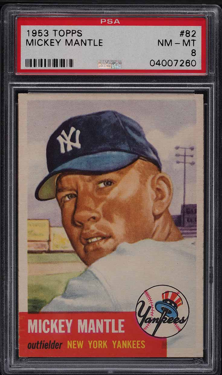 1953 Topps Mickey Mantle SHORT PRINT #82 PSA 8 NM-MT - Image 1