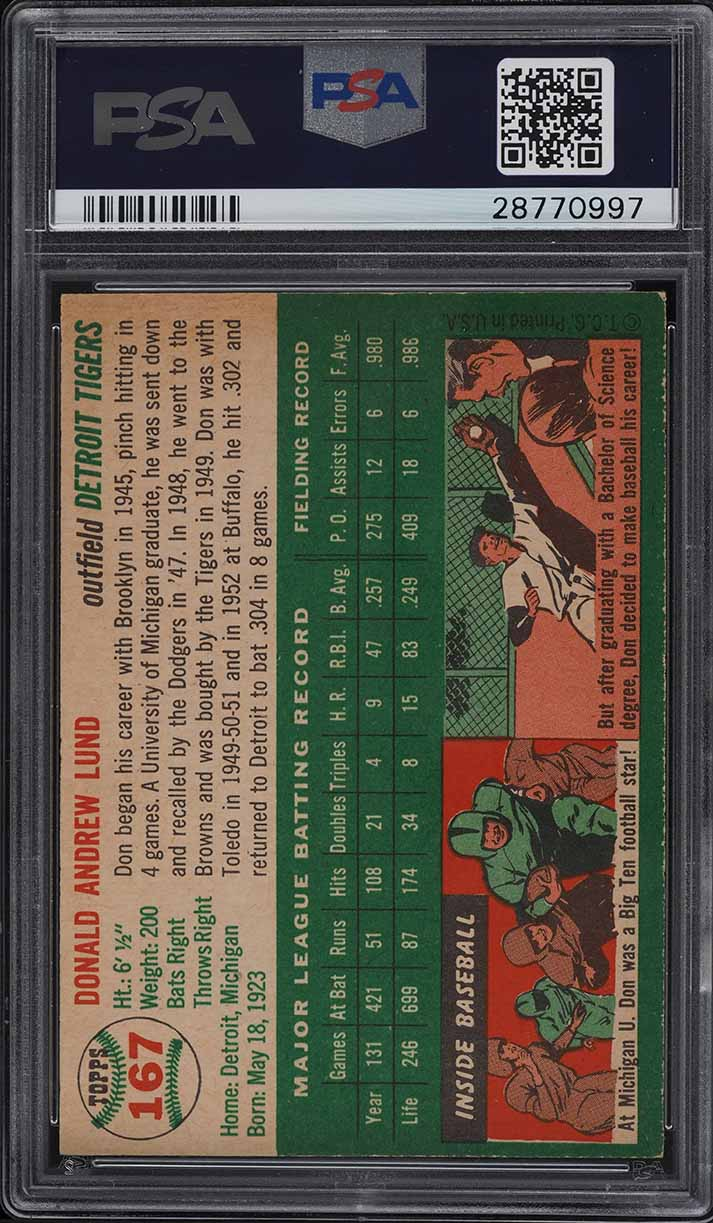 1954 Topps Don Lund #167 PSA 9 MINT - Image 2