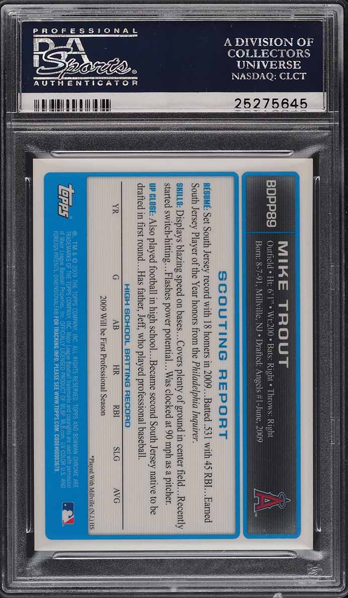 2009 Bowman Chrome Draft Mike Trout ROOKIE RC AUTO #BDPP89 PSA 9 MINT - Image 2