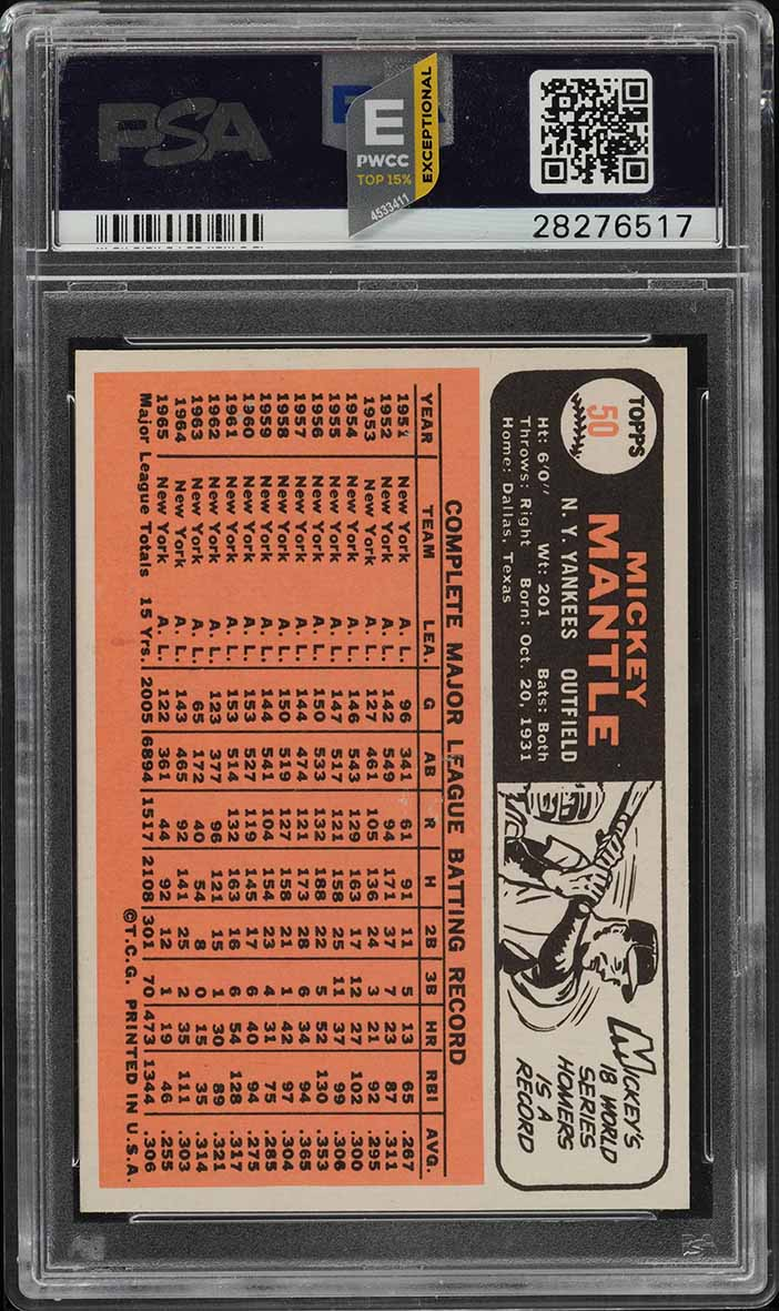 1966 Topps Mickey Mantle #50 PSA 9 MINT (PWCC-E) - Image 2
