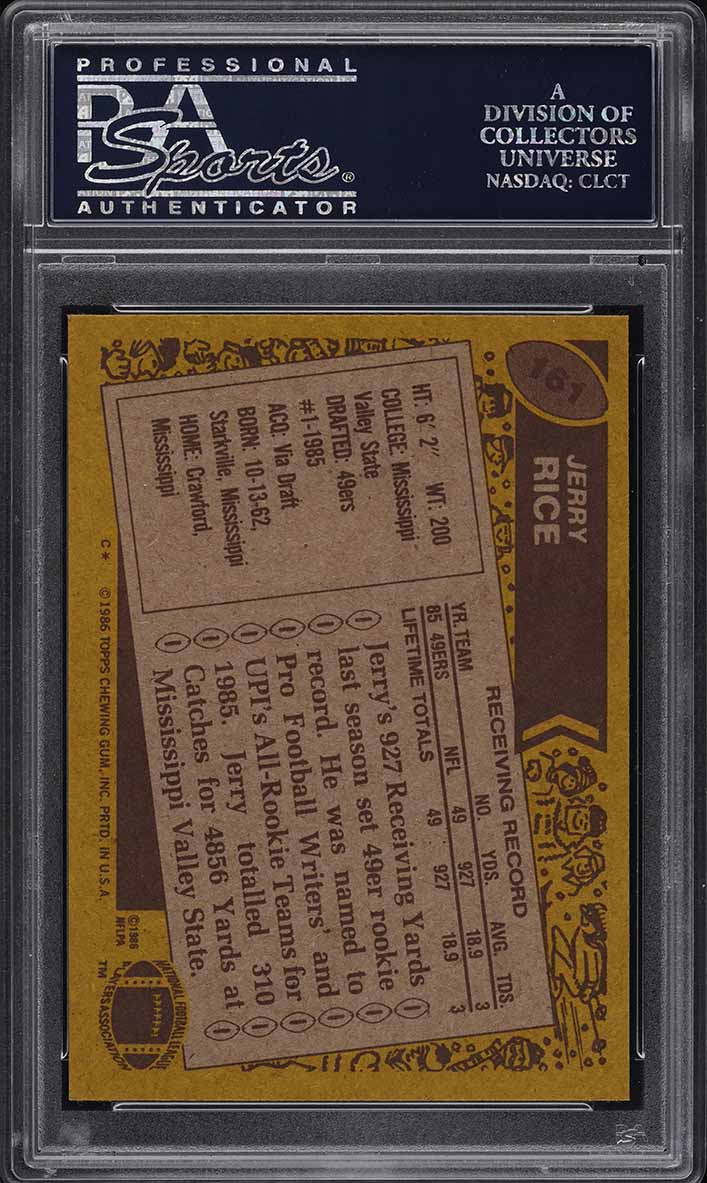 1986 Topps Football Jerry Rice ROOKIE RC #161 PSA 10 GEM MINT (PWCC) - Image 2