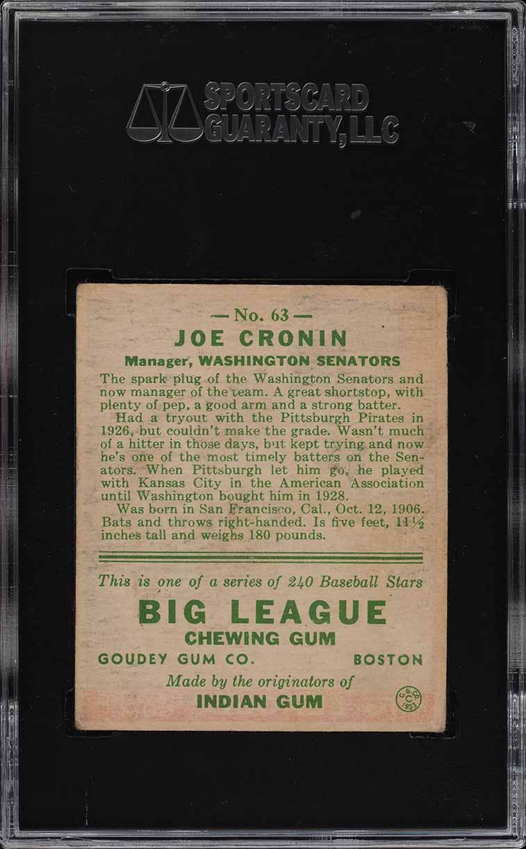 1933 Goudey Joe Cronin #63 SGC 3.5 VG+ (PWCC) - Image 2