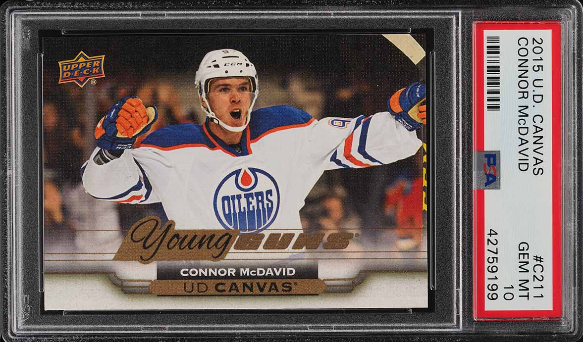2015 Upper Deck Young Guns Canvas Connor McDavid ROOKIE RC #C211 PSA 10 (PWCC) - Image 1