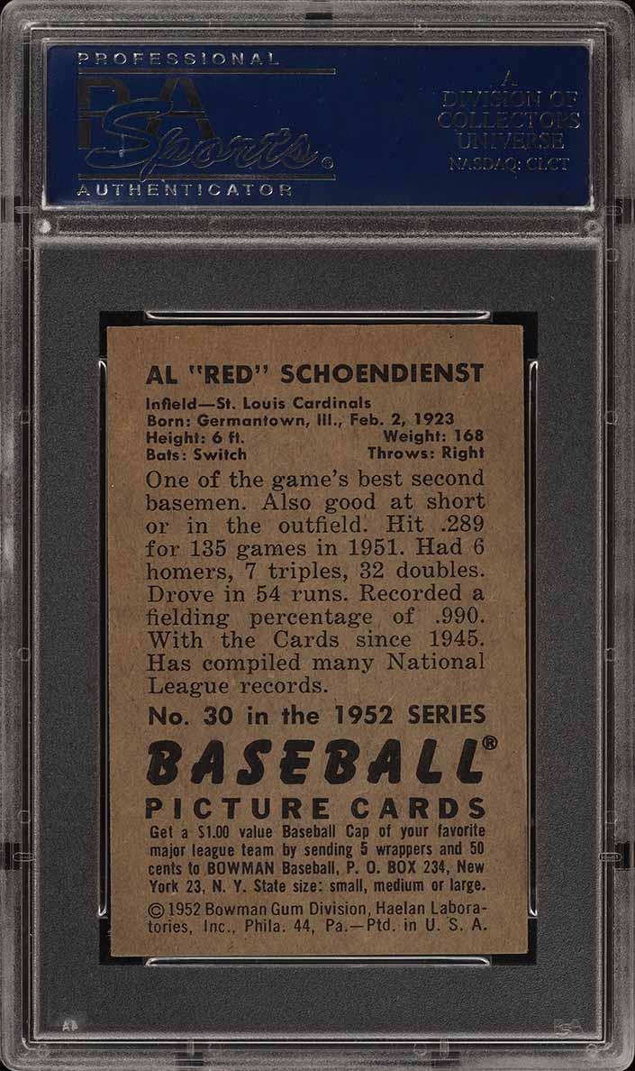1952 Bowman SETBREAK Red Schoendienst #30 PSA 8 NM-MT (PWCC) - Image 2