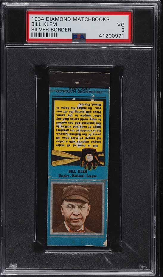 1934 Diamond Matchbooks Silver Border Bill Klem PSA 3 VG - Image 1