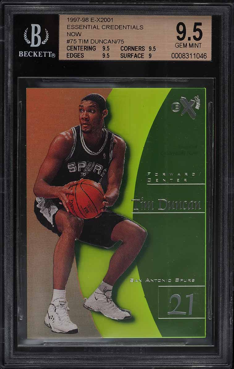1997 Skybox E-X2001 Essential Credentials Now Tim Duncan ROOKIE RC /75 BGS 9.5 - Image 1