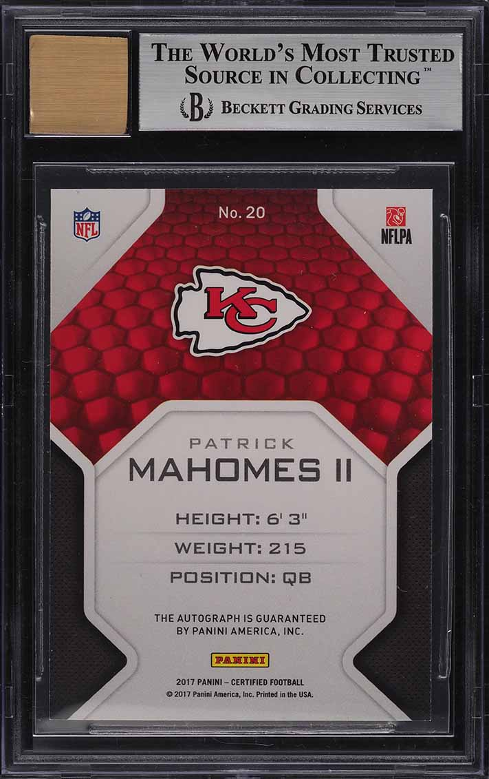 2017 Certified Roll Call Mirror Black Patrick Mahomes II ROOKIE AUTO 1/1 BGS 9 - Image 2