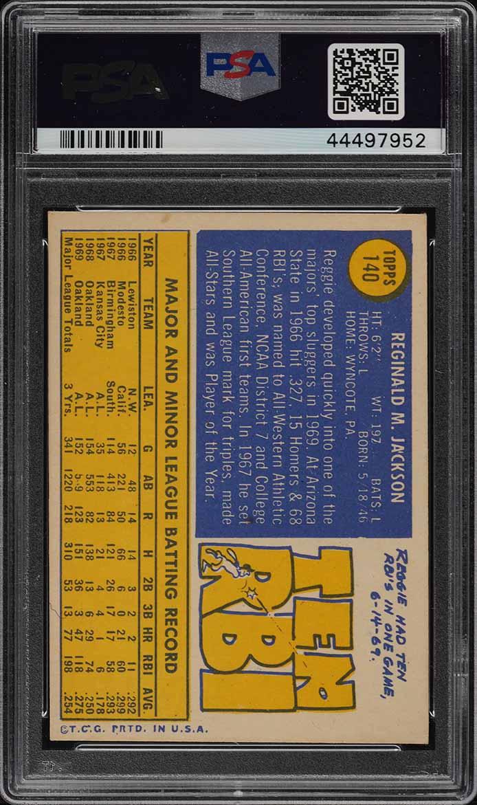 1970 Topps Reggie Jackson #140 PSA 6 EXMT (PWCC) - Image 2