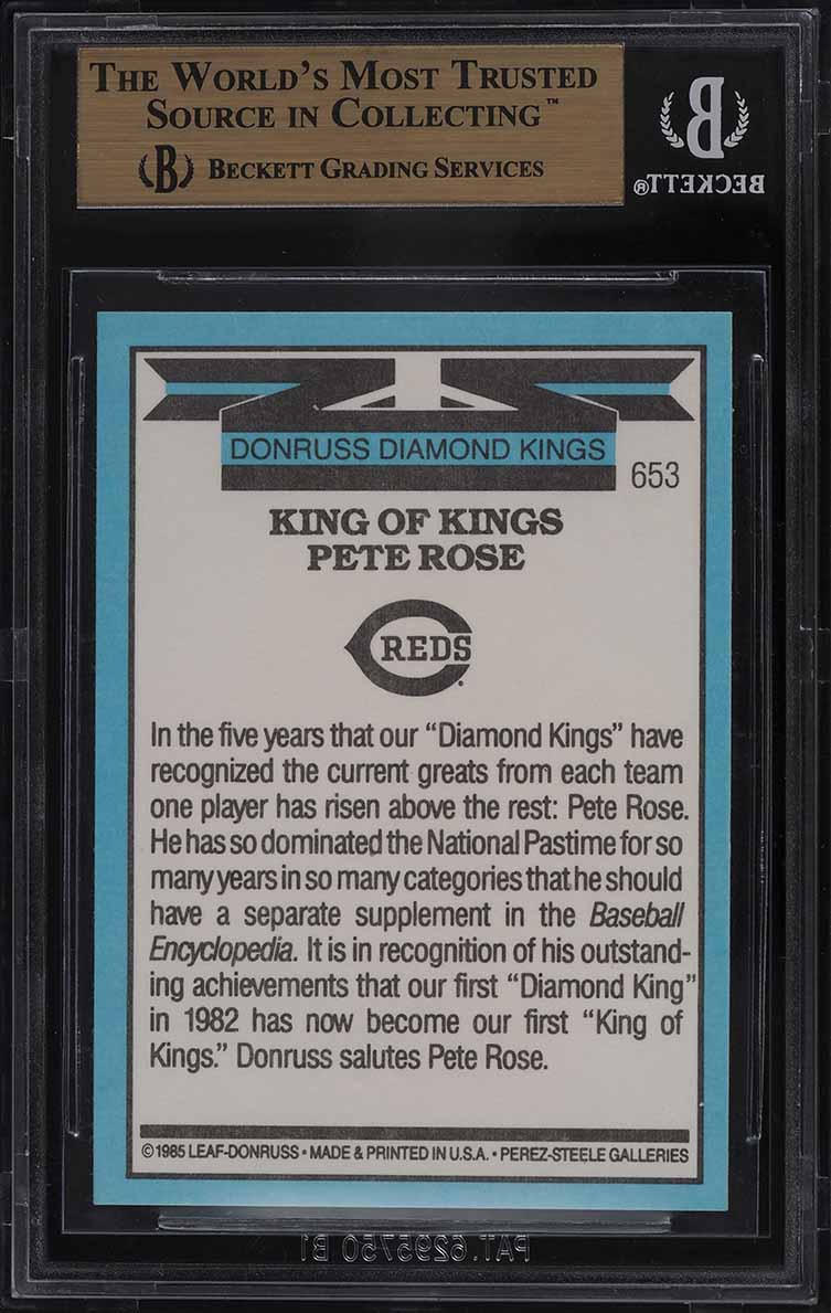 1986 Donruss King Of Kings Pete Rose #653 BGS 9.5 GEM MINT - Image 2