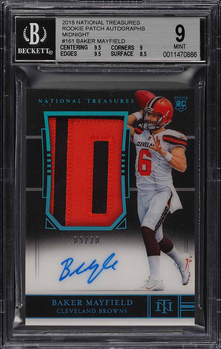 2018 National Treasures Midnight Baker Mayfield RC AUTO PATCH /20 BGS 9 (PWCC) - Image 1