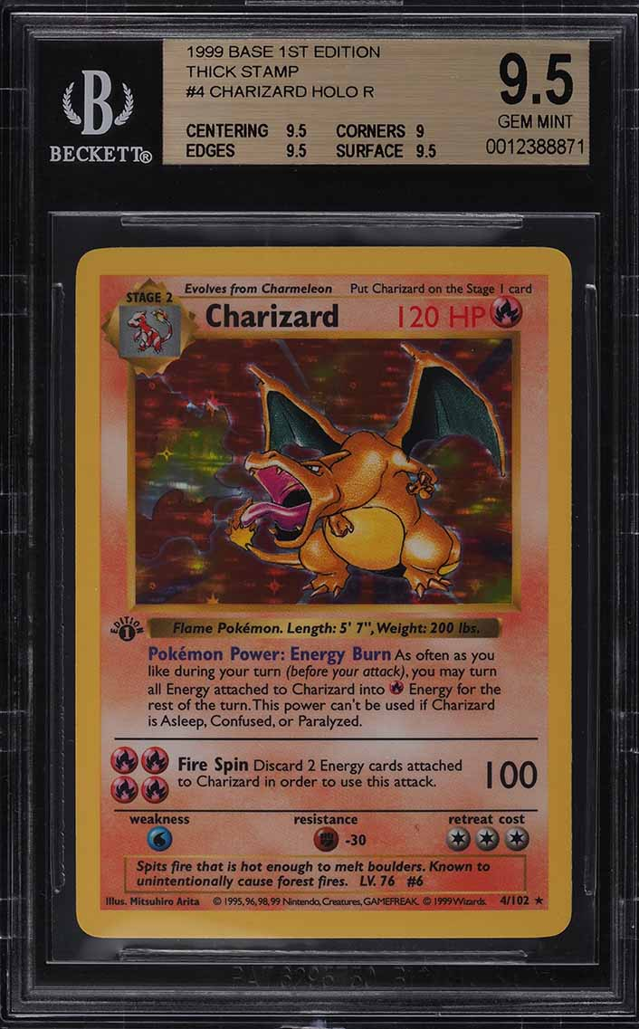 1999 Pokemon Game 1st Edition Holo Charizard THICK STAMP #4 BGS 9.5 GEM MINT - Image 1