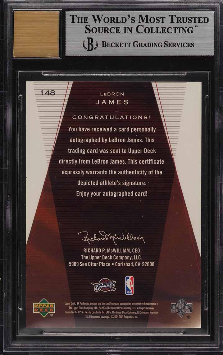 2003 SP Authentic LeBron James ROOKIE RC AUTO /500 #148 BGS 9 MINT (PWCC) - Image 2