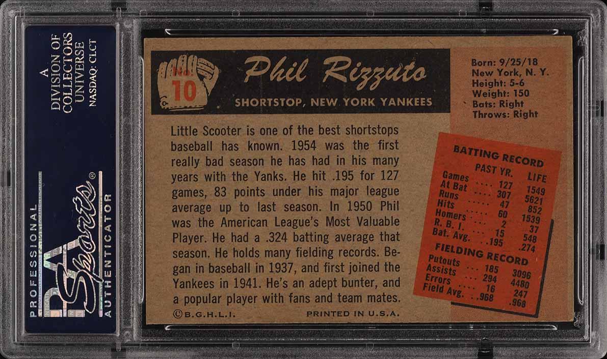 1955 Bowman Phil Rizzuto #10 PSA 6 EXMT (PWCC) - Image 2