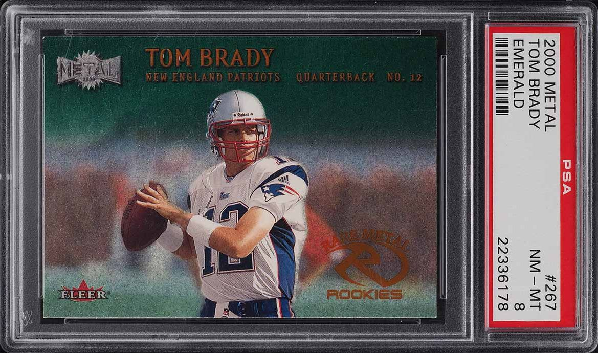 2000 Metal Emerald Tom Brady ROOKIE RC #267 PSA 8 NM-MT - Image 1