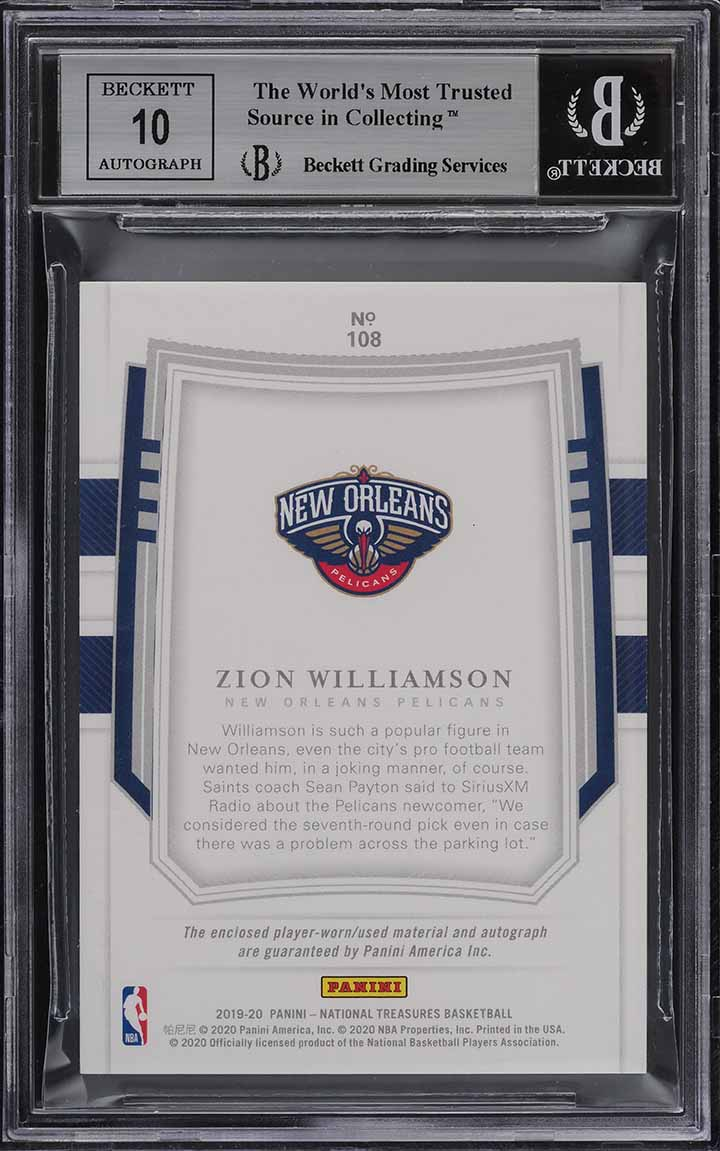 2019-20 National Treasures Zion Williamson FOTL ROOKIE PATCH AUTO /30 BGS 9 PWCC - Image 2