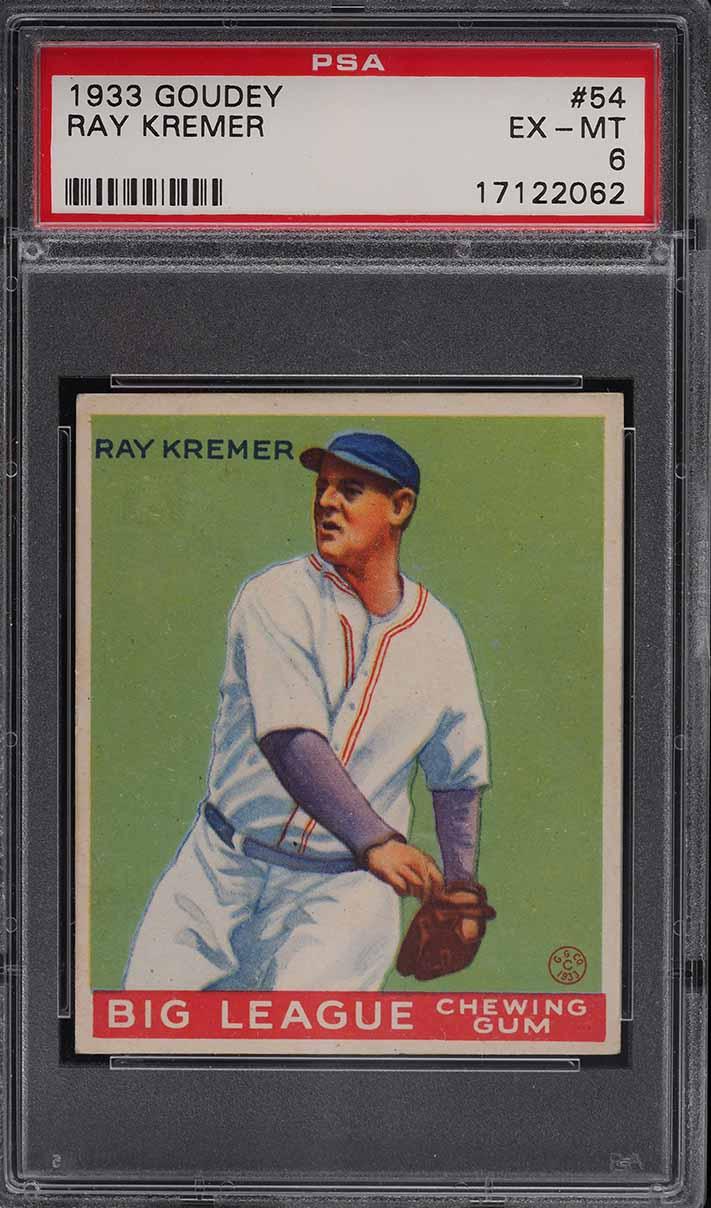 1933 Goudey Ray Kremer #54 PSA 6 EXMT - Image 1