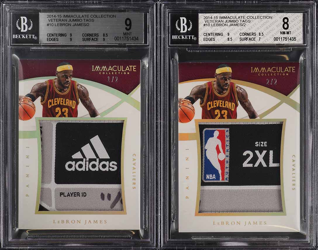 2014 Immaculate Veteran Jumbo 2-Card Set LeBron James LAUNDRY TAG PATCH /2 PWCC - Image 1