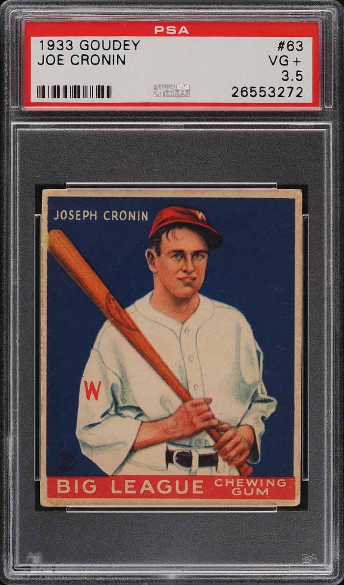 1933 Goudey Joe Cronin #63 PSA 3.5 VG+ - Image 1