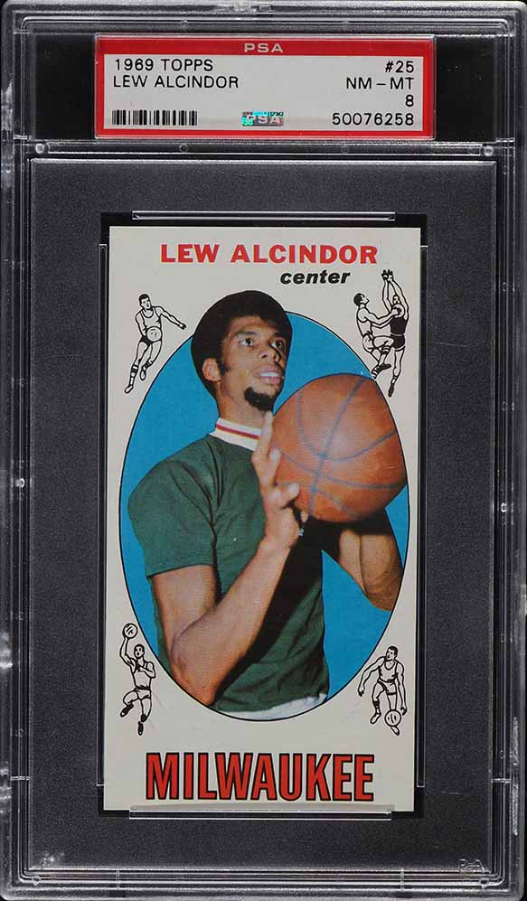 1969 Topps Basketball Lew Alcindor ROOKIE RC #25 PSA 8 NM-MT - Image 1