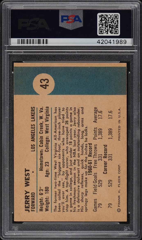 1961 Fleer Basketball Jerry West ROOKIE RC #43 PSA 7.5 NRMT+ (PWCC) - Image 2