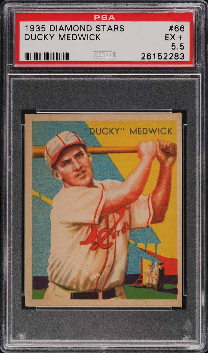 1935 Diamond Stars Ducky Medwick #66 PSA 5.5 EX+ - Image 1