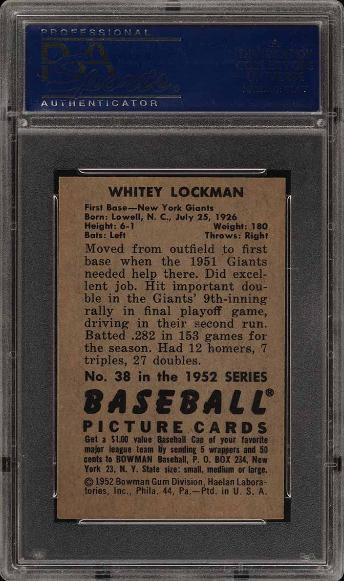 1952 Bowman SETBREAK Whitey Lockman #38 PSA 8 NM-MT (PWCC) - Image 2