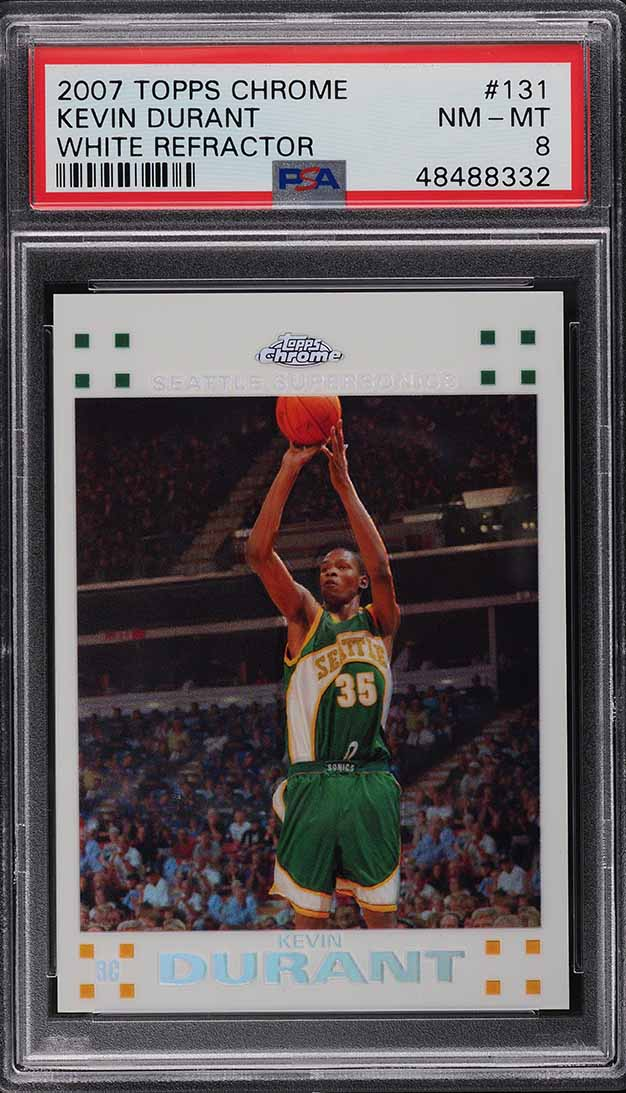 2007 Topps Chrome White Refractor Kevin Durant ROOKIE RC /99 #131 PSA 8 NM-MT - Image 1