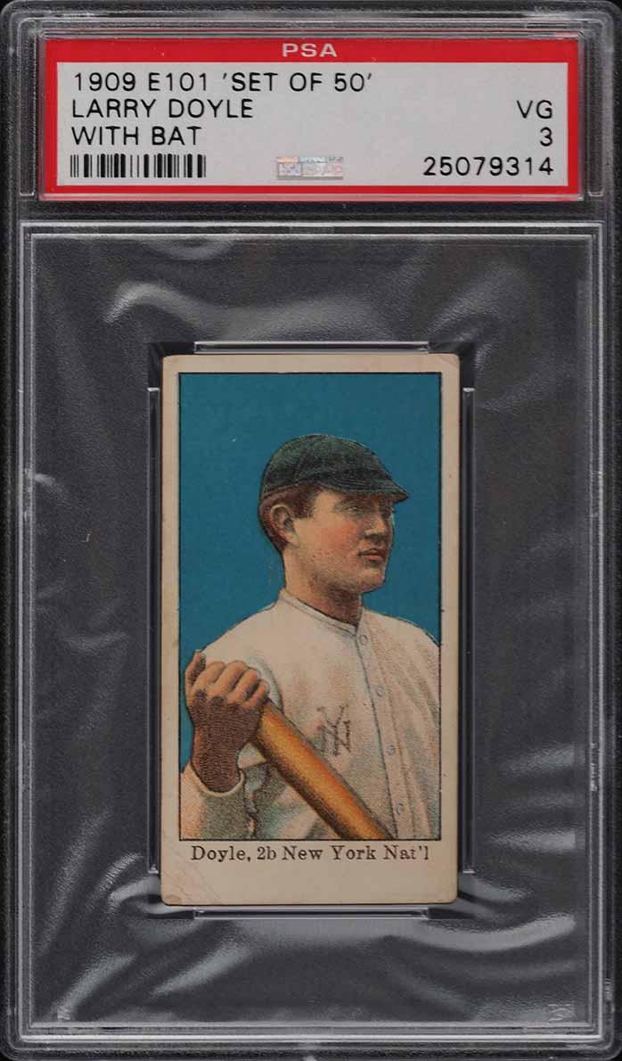 1909 E101 Set Of 50 Larry Doyle WITH BAT PSA 3 VG - Image 1