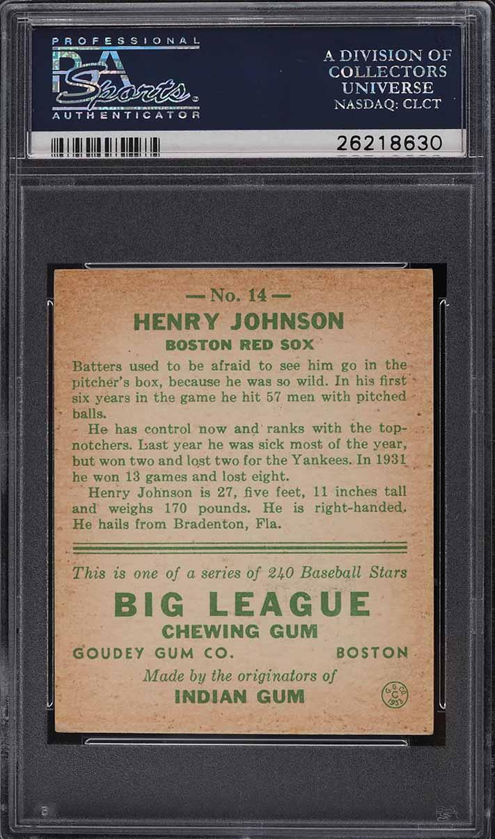 1933 Goudey Henry Johnson #14 PSA 6 EXMT - Image 2