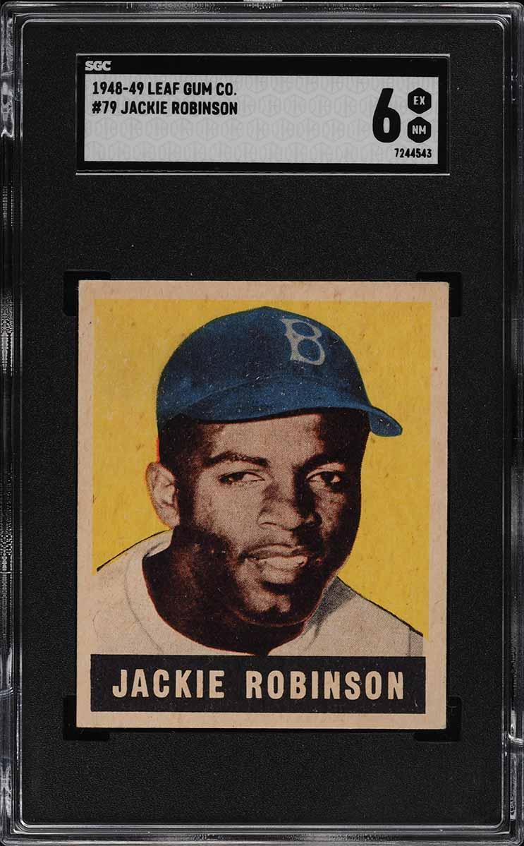 1948 Leaf Jackie Robinson ROOKIE RC #79 SGC 6 EXMT - Image 1