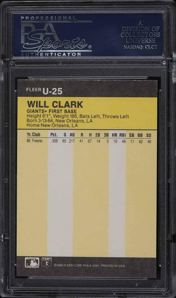 1986 Fleer Update Will Clark ROOKIE RC #U-25 PSA 10 GEM MINT - Image 2