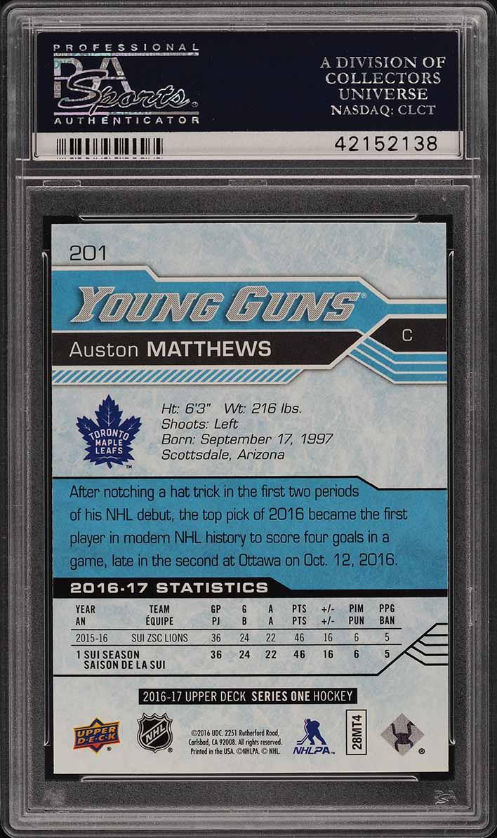 2016 Upper Deck Young Guns Auston Matthews ROOKIE RC #201 PSA 10 GEM MINT (PWCC) - Image 2
