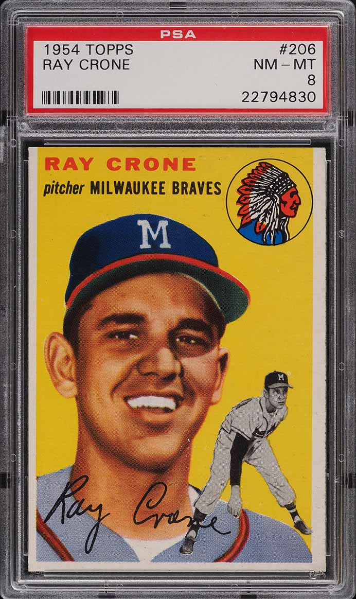1954 Topps Ray Crone #206 PSA 8 NM-MT - Image 1