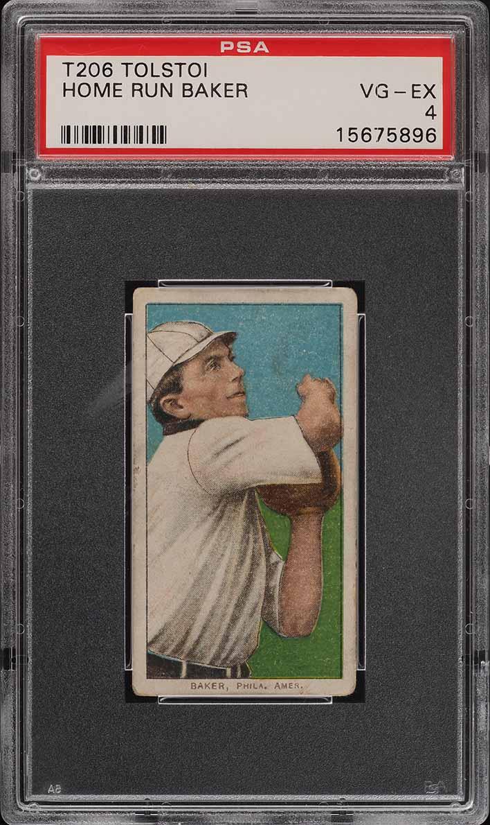 1909-11 T206 SETBREAK Frank 'Home Run' Baker TOLSTOI PSA 4 VGEX (PWCC) - Image 1