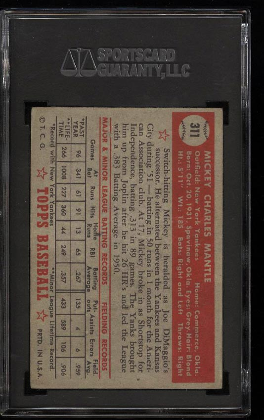 1952 Topps Mickey Mantle #311 SGC 1.5/20 FR+ (PWCC) - Image 2