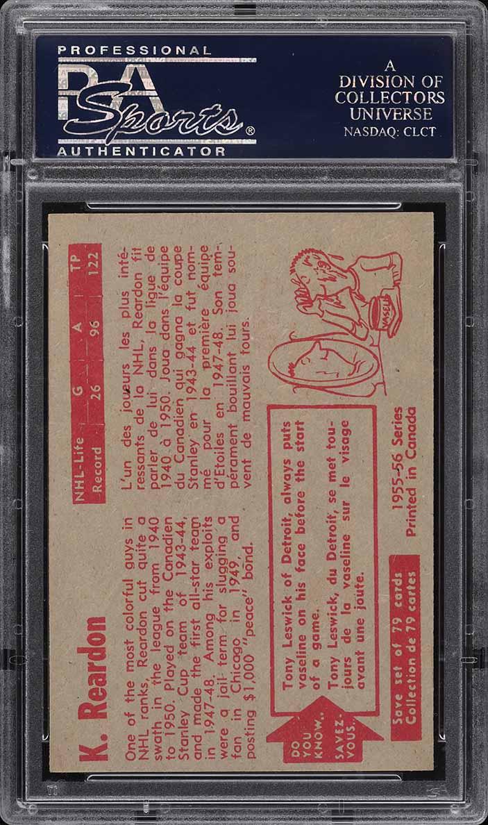 1955 Parkhurst Ken Reardon #64 PSA 7 NRMT - Image 2