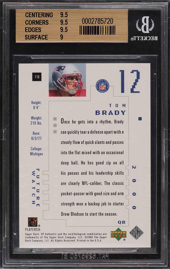 2000 SP Authentic Tom Brady ROOKIE RC /1250 #118 BGS 9.5 GEM MINT - Image 2