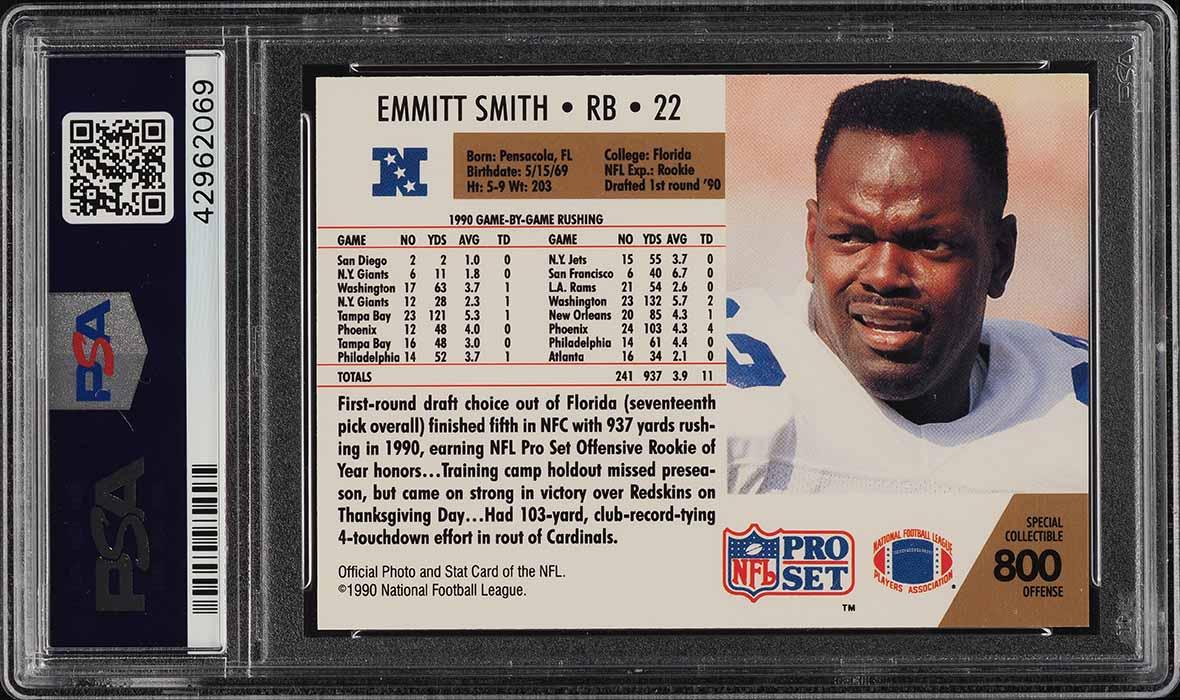 1990 Pro Set Offensive ROY Emmitt Smith ROOKIE RC #800 PSA 10 GEM MINT (PWCC) - Image 2
