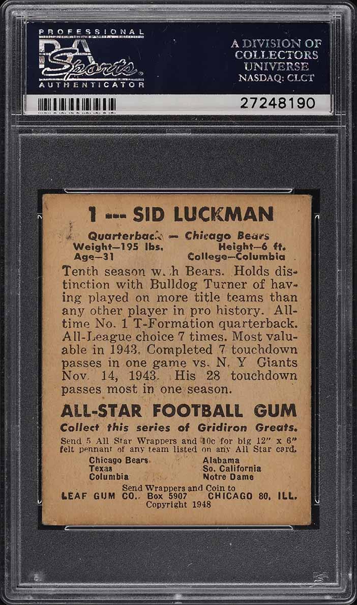 1948 Leaf Football Sid Luckman ROOKIE RC #1 PSA 3 VG (PWCC) - Image 2