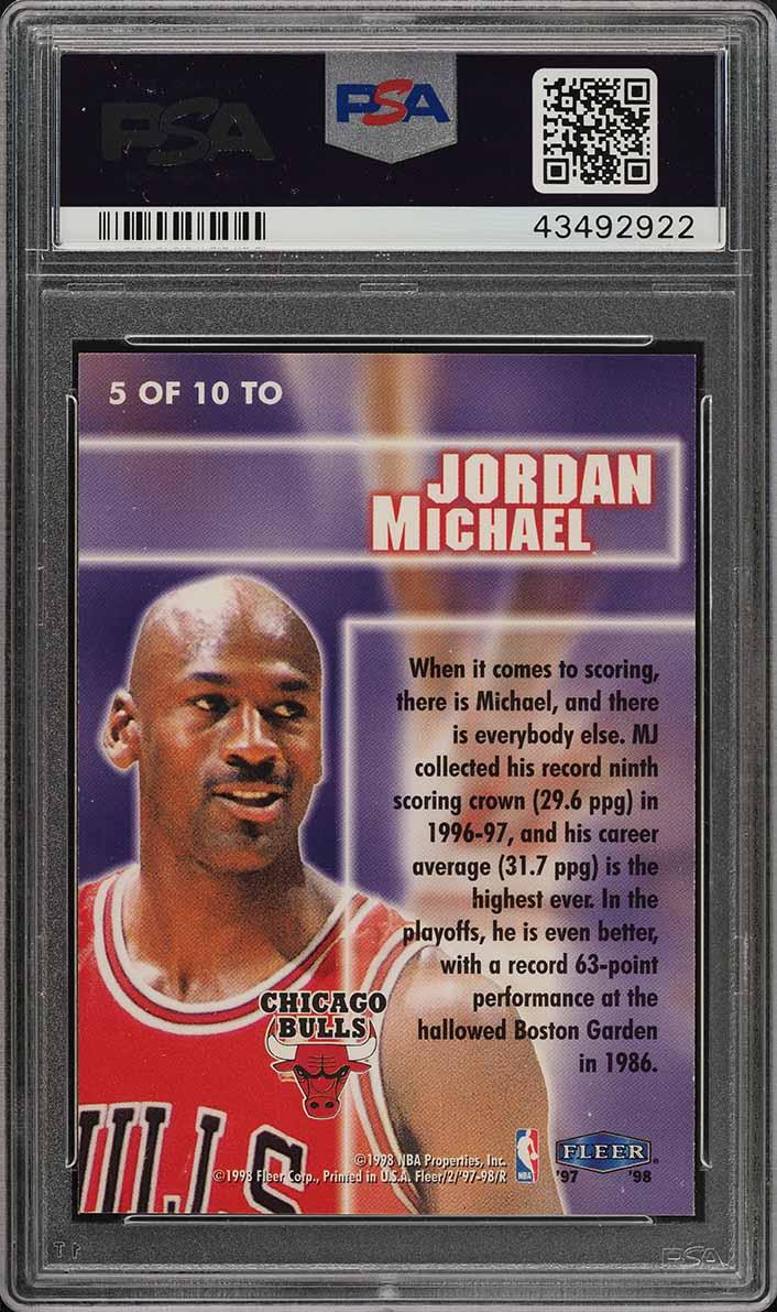 1997 Fleer Total O Michael Jordan #5 PSA 10 GEM MINT (PWCC) - Image 2