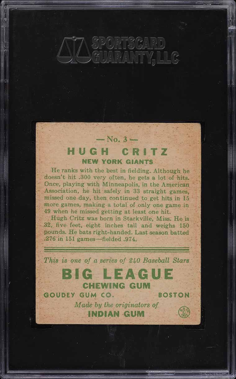 1933 Goudey Hugh Critz #3 SGC 4.5 VGEX+ (PWCC) - Image 2